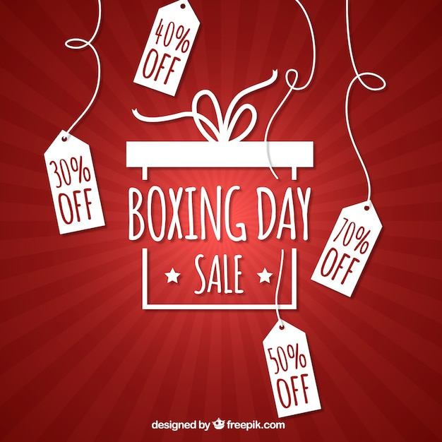 Red background of boxing day tags Free Vector