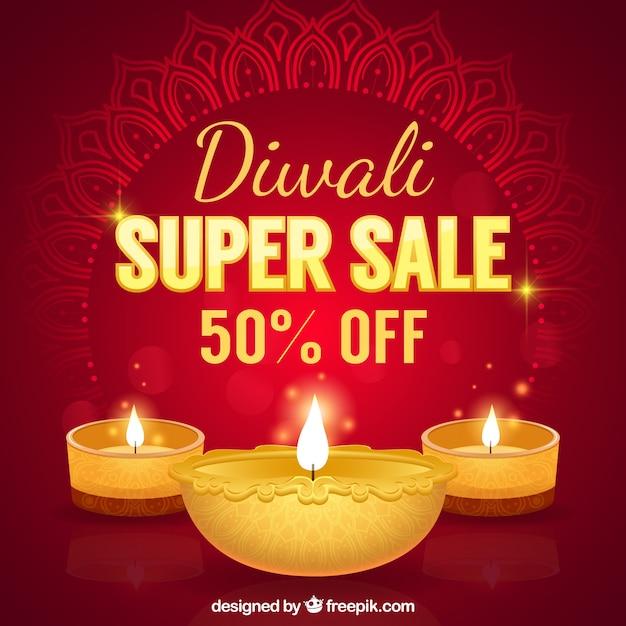 Red background of diwali super sales