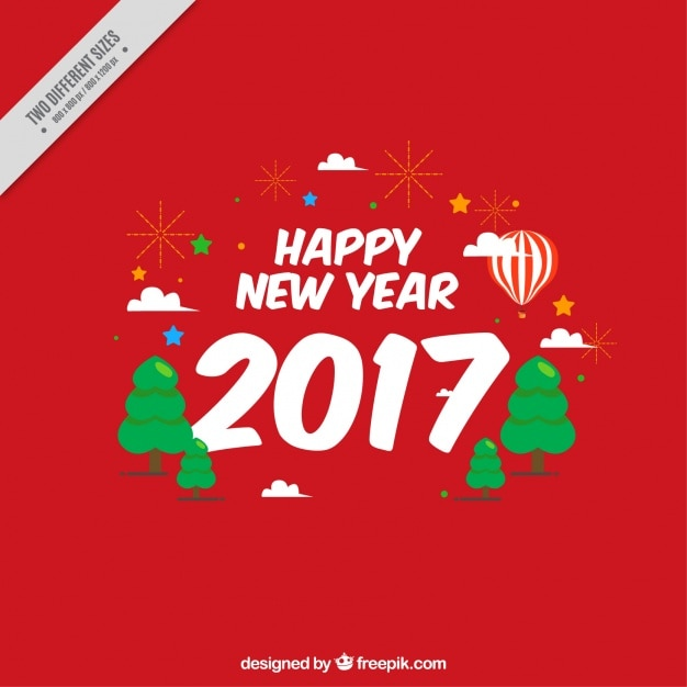 Red background of happy new year 2017 Vector | Free Download