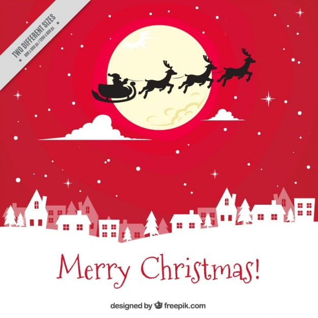 Red background of santa claus flying over the city Free Vector