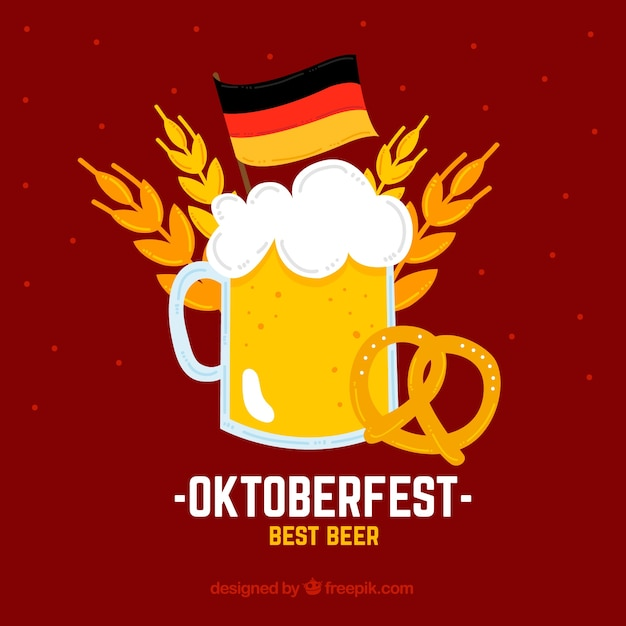 Red background with a beer for oktoberfest