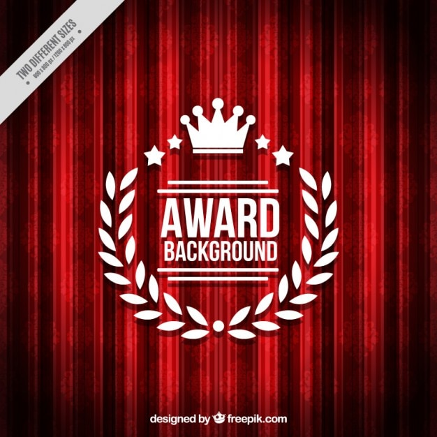 Red background with award badge Free Vector