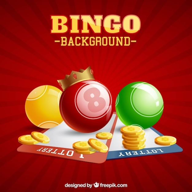 Red background with bingo balls and coins Free Vector