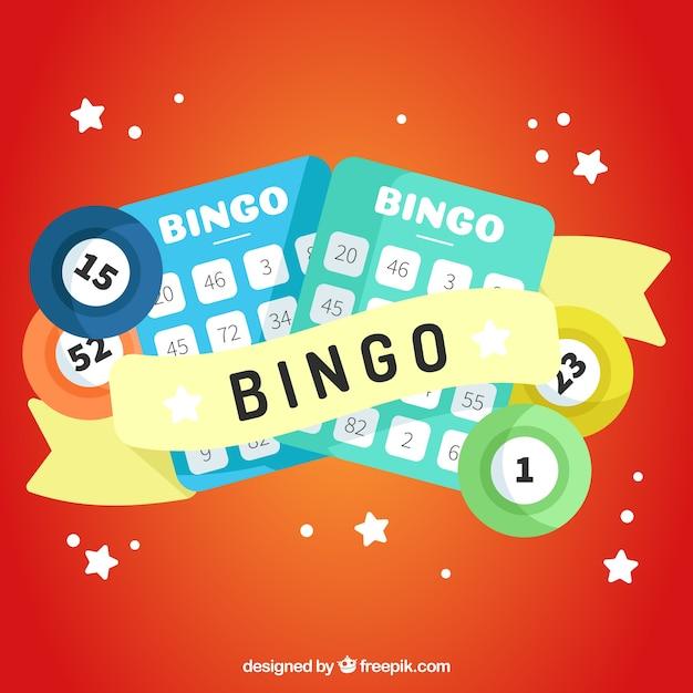 Sfondo rosso con elementi di bingo in progettazione piatta Vettore gratuito