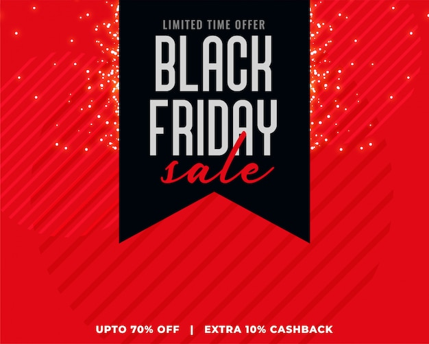 Red background with black ribbon black friday sale banner Free Vector