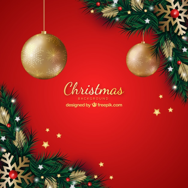 Red background with christmas decoration Free Vector
