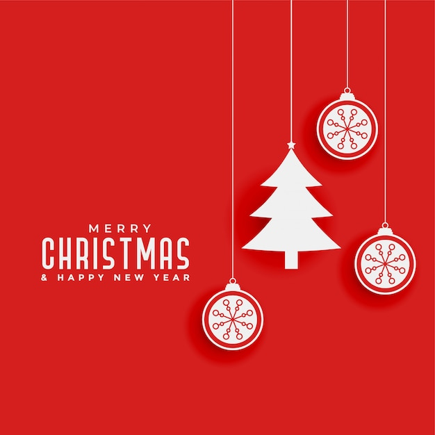Red background with christmas tree and balls Free Vector