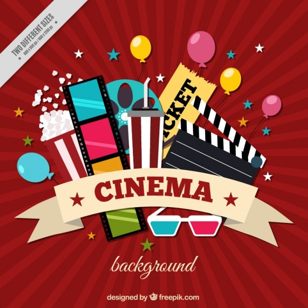 Red background with colorful cinema items Premium Vector
