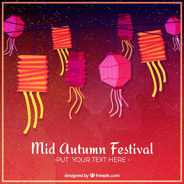 Red background with colorful lanterns, mid autumn festival