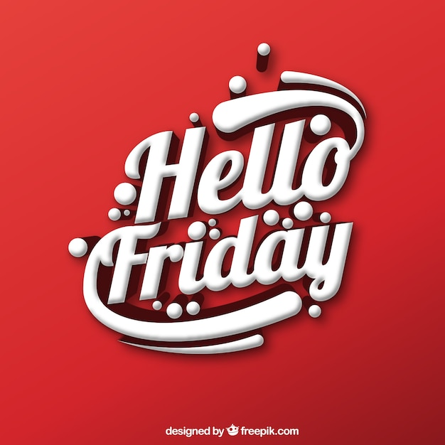 Red Background With Decorative Text Hello Friday