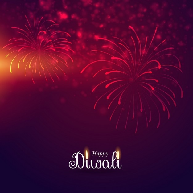 Red Background With Fireworks For Diwali Vector