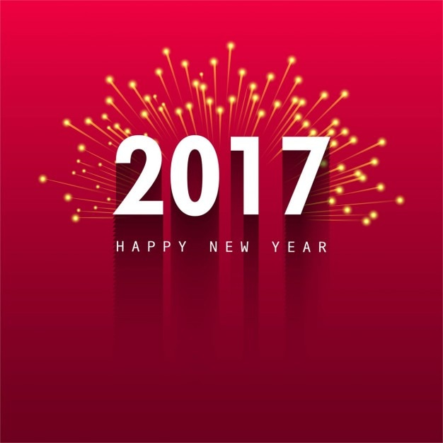 Red background with fireworks for new year Free Vector