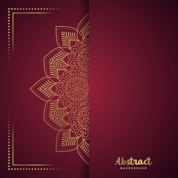 Red background with flower mandala Free Vector