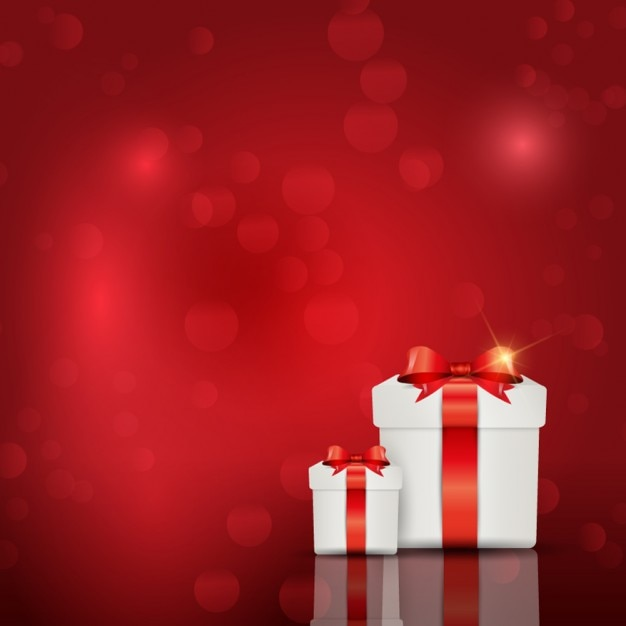 Free Vector Red Background With Giftboxes