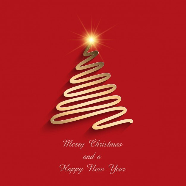 Red background with a golden christmas tree Free Vector