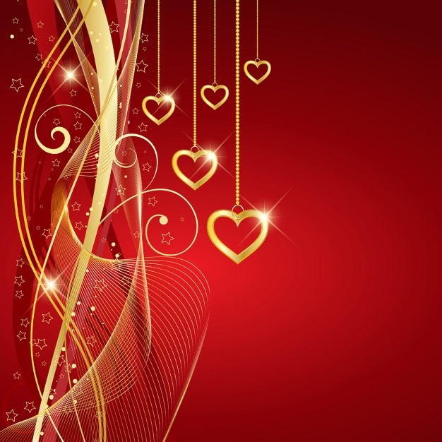 red background with golden hearts for valentine free vector - Valentines Pictures Free