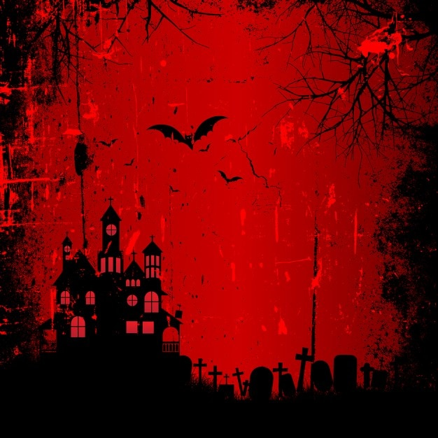 red background with haunted house halloween 1048 3312