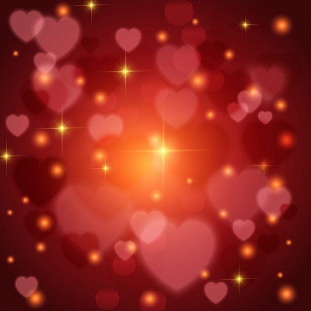 Red Background With Lights And Hearts For Valentineu0027s Day Free Vector
