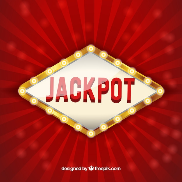 Red background with luminous jackpot sign Free Vector