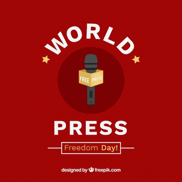 Red background with microphone for world press freedom day