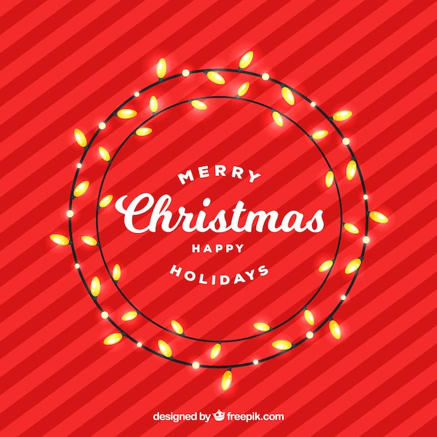 red background with nice christmas lights free vector