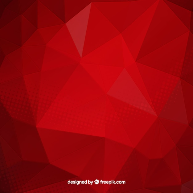 Red background with polygonal forms Free Vector