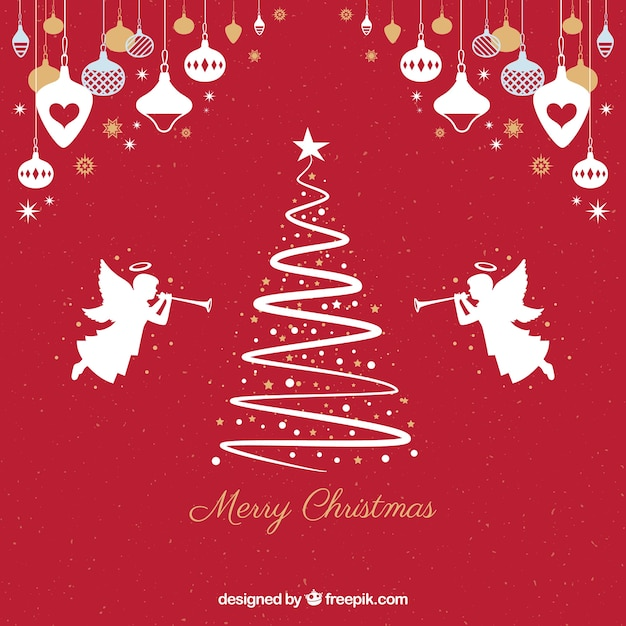 Angels Christmas Background.Red Background With Silhouettes Of A Christmas Tree And