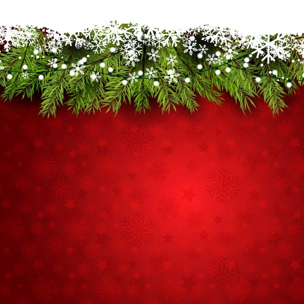 Red background with snowflakes and pine branches Free Vector