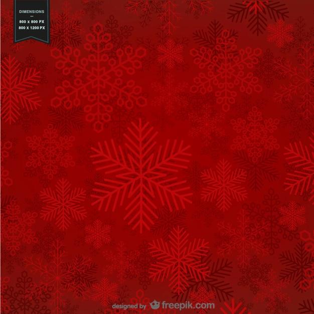 크리스마스 눈송이와 빨간색 배경 무료 벡터