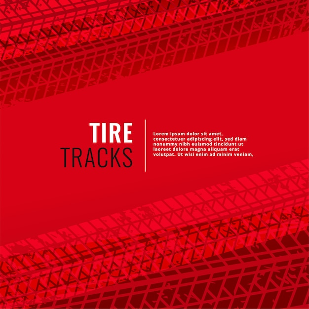 Red background with tire tracks print marks Free Vector