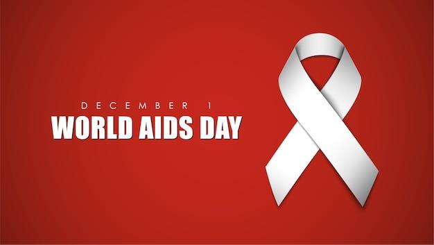 Красный фон с белой лентой для всемирного дня борьбы со спидом Premium векторы