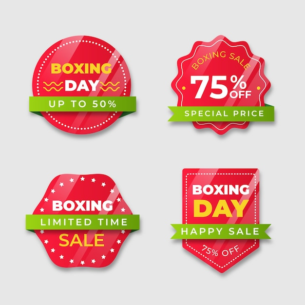 Red badge with gradient ribbon tones of boxing day Free Vector