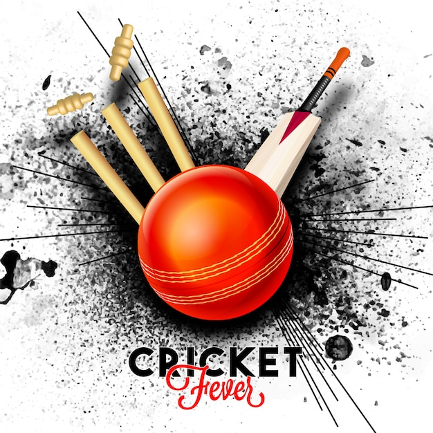 Red ball hitting the wicket stumps with bat on black abstract splash background for cricket fever concept. Free Vector