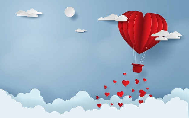 Red balloon flying on the sky happy valentine's day Premium Vector