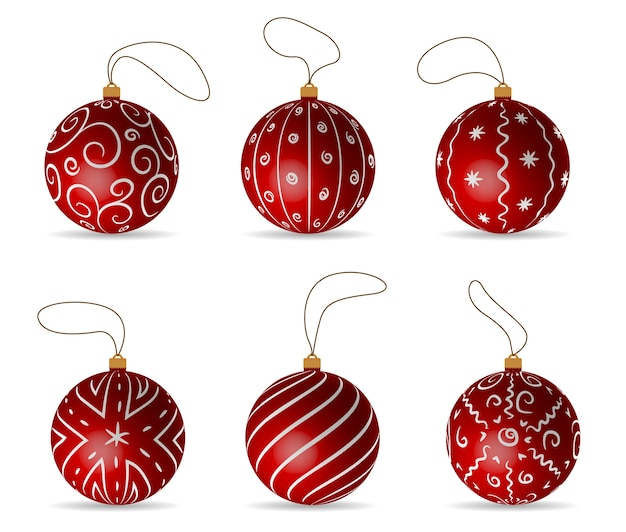 Red balls set decorations for christmas three Premium Vector