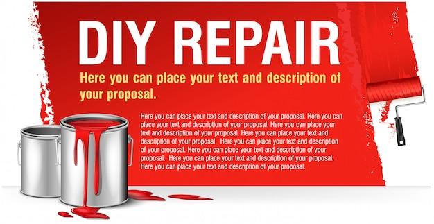 Красное знамя для рекламы diy ремонт с краской банка. Premium векторы