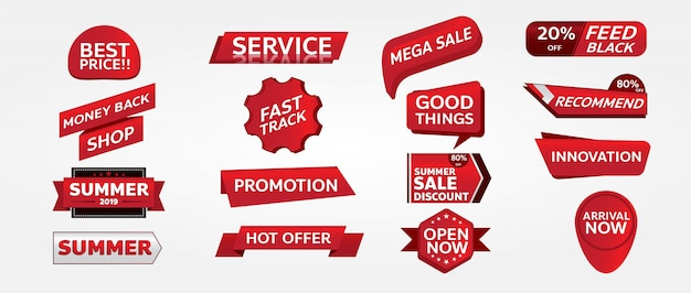 Red banner promotion tag design for marketing Premium Vector