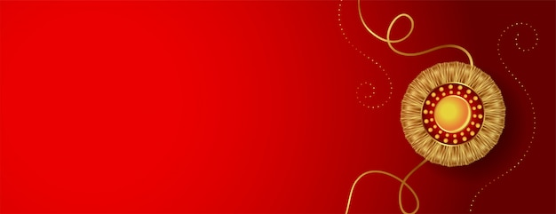 Red banner with golden rakhi and text space Free Vector