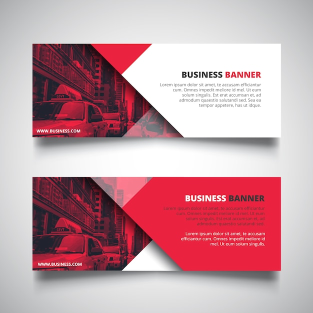 Red banners for business Free Vector