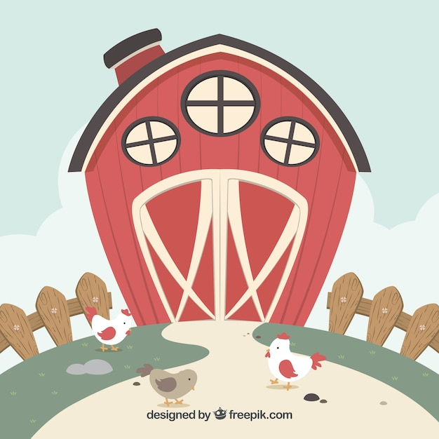 Red Barn Background With Chickens
