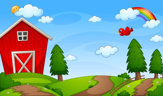 Red barn farm in nature scene with rainbow in the sky Free Vector