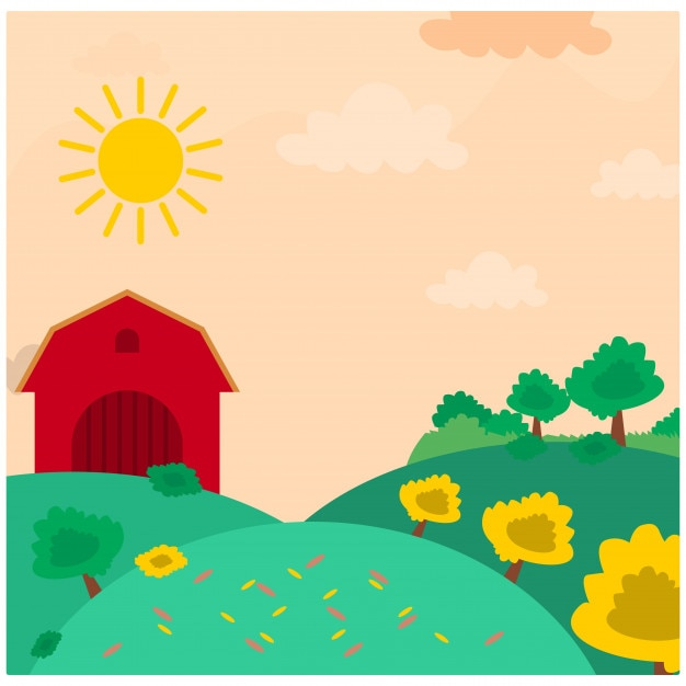 Red barn house in the grassland meadow in the afternoon day Premium Vector
