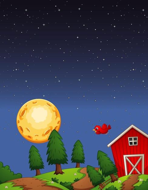 Красный сарай на ферме в ночной сцене Бесплатные векторы
