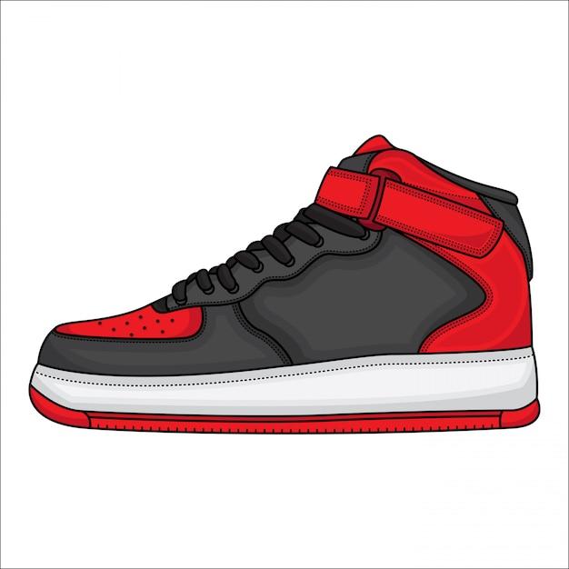 Красная баскетбольная обувь Premium векторы