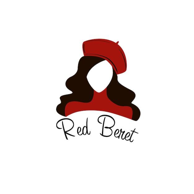 Red beret woman face logo Premium Vector