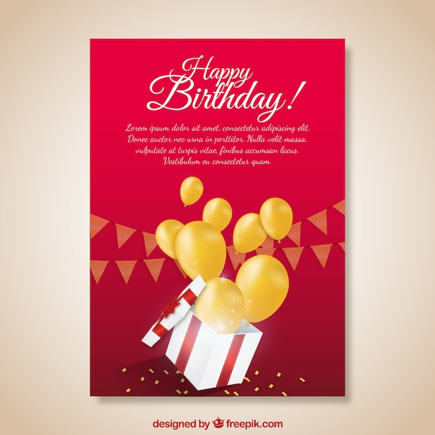 Red birthday card with gift and yellow\ balloons