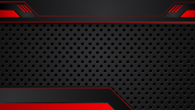 Red black abstract metallic frame layout design tech innovation concept background Premium Vector
