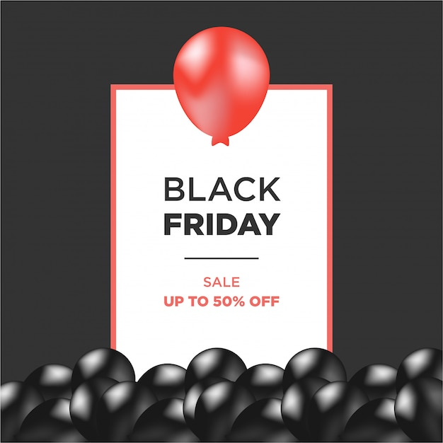 Red and black air balloons with black friday frame Premium Vector