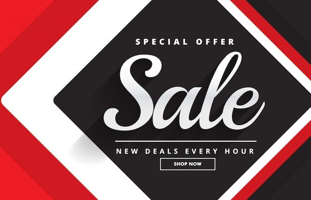 Red black awesome sale banner template design for promotion Free Vector