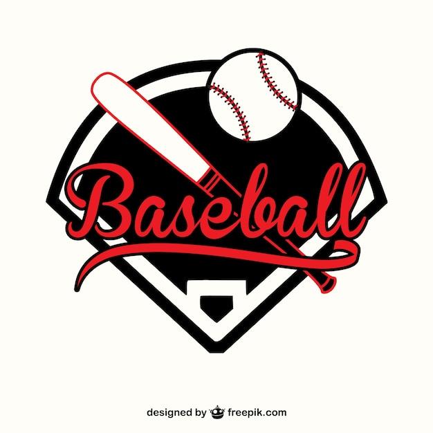 Red and black baseball logo Free Vector